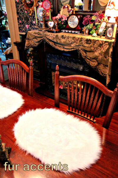 Shaggy Shag Faux Fur Placemats Table Decor Off White Dinner Ware Set of 4