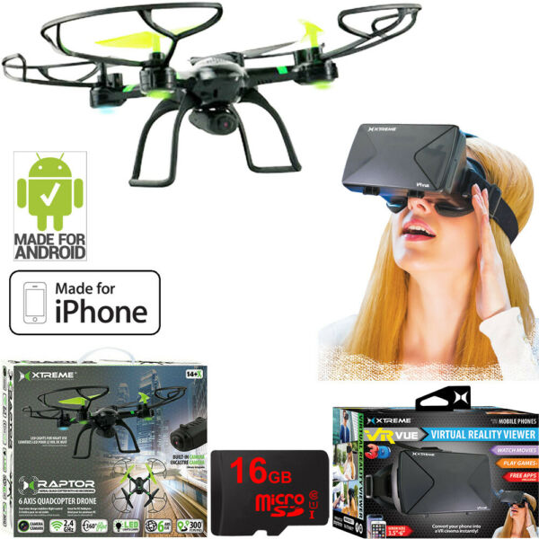 Xtreme Ready-To-Fly Aerial Quadcopter Drone with Camera + VR Headset 16GB Bundle
