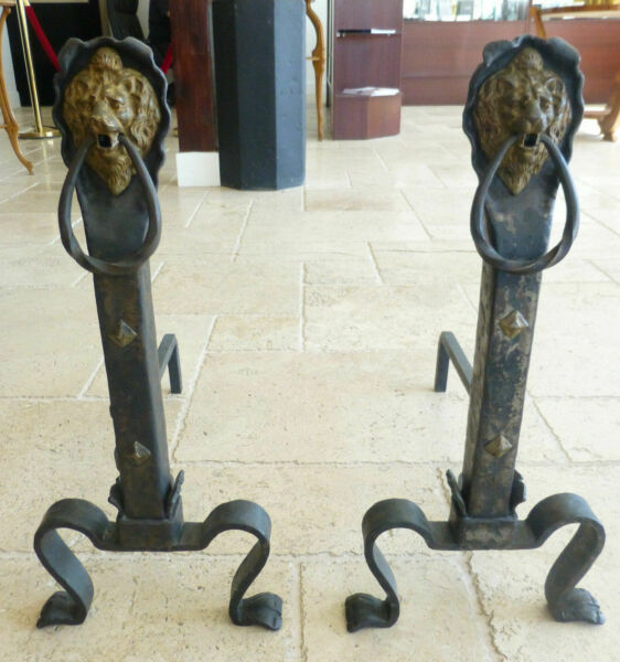 Pair of 1900-1915 Andirons Craftsman Style Lions Fire Place Wood Holder