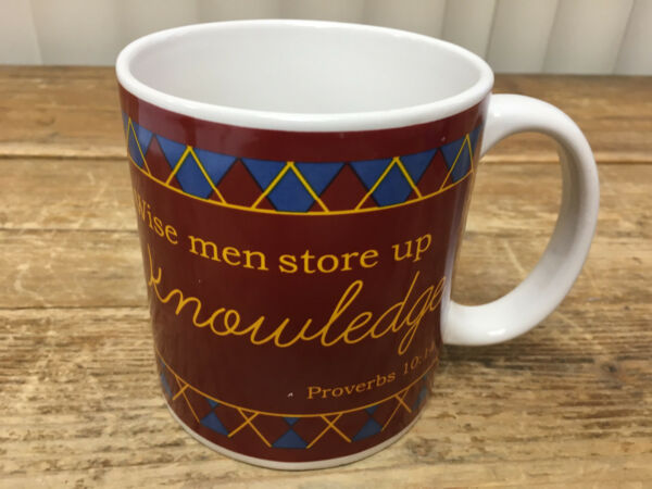 Wise Men Store Up Knowledge Coffee Mug Proverbs 10:14 Argyle HUGE Tartan Dei