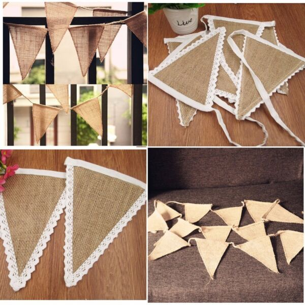 Wedding Party Decor Rustic Lace Vintage Jute Hessian Burlap Chic Banner Bunting