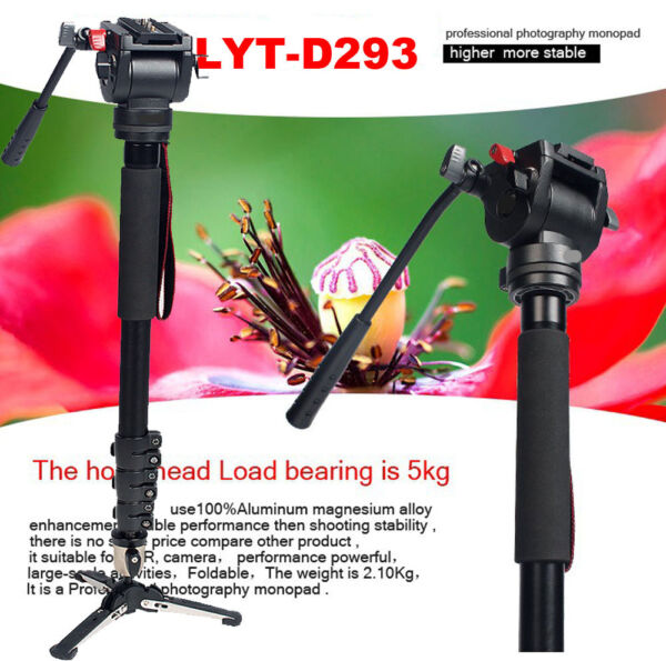 Professional Heavy Duty Monopod Fluid Head kit DV Video Camera Camcorder 72 inch