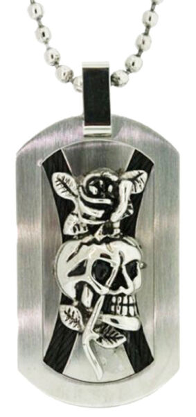 Ed Hardy 2 Crossed Ropes and Skull Dog Tag in Stainless Steel $124.95