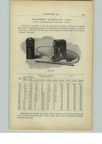1910 PAPER AD Dudgeon Hydraulic Jack Independent Double Pump Car Brass Stone $9.99