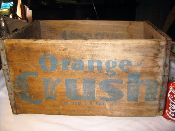 ANTIQUE ORANGE CRUSH SODA BOTTLE LONG ISLAND NY WOOD STORE ART SIGN BOX CRATE
