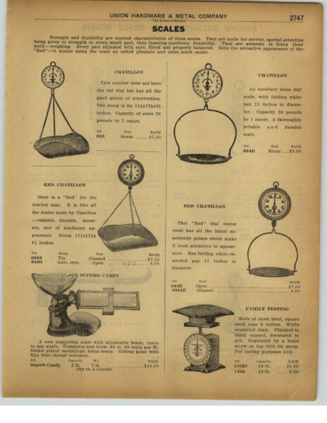1922 PAPER AD Chatillon Produce Hoop Scale Balance Candy Counter Scale Beam