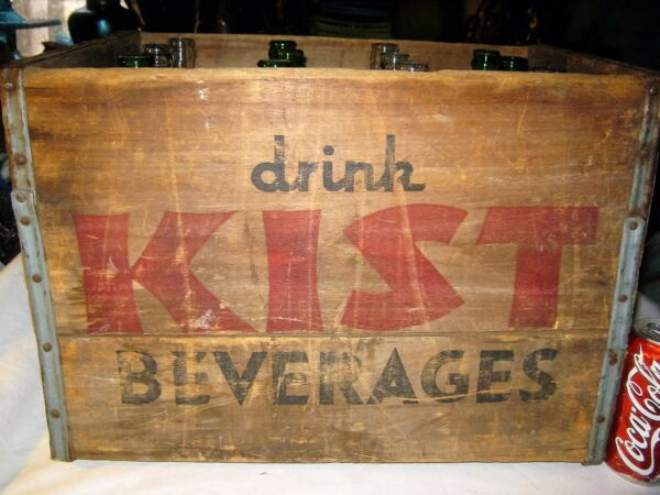 12 GLASS KIST SODA QT BOTTLE STORE BAR ART WOOD SIGN BOX HOLDER STAND CRATE MASS
