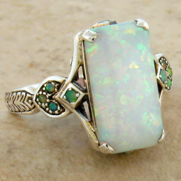 LAB OPAL ANTIQUE VICTORIAN STYLE .925 STERLING SILVER RING SIZE 9 #462