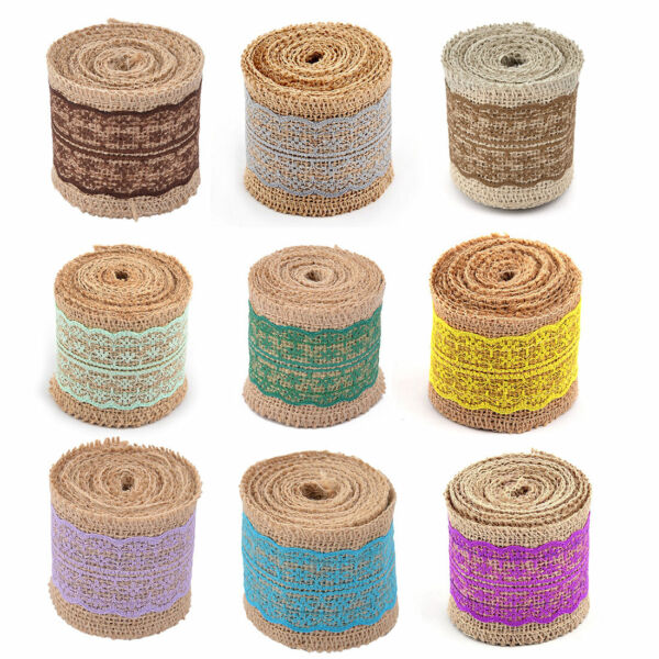 Household Party Lace Edge Ornament Craft Burlap Ribbon Strap Roll 2.2 Yards