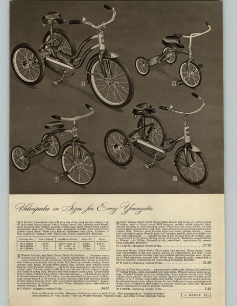 1948 PAPER AD Velocipede Tricycle Scooter Pedal Car Bike Roadster Wood Grip $10.71