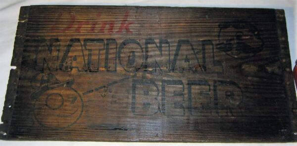 ANTIQUE USA NATIONAL BEER BREWERY BAR WOOD ART BOX NATY BOH CRATE BOTTLE LG SIGN
