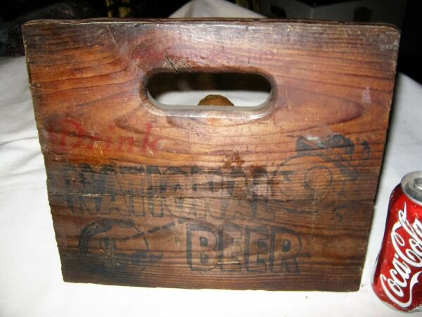 #3 ANTIQUE USA NATIONAL BEER BAR BREWERY NATY BOH FACE WOOD CRATE PANEL ART SIGN
