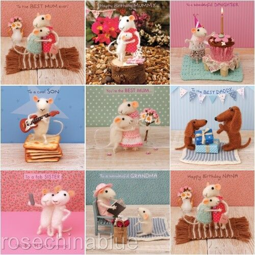 Cute Whimiscal Whimsical Card Family Birthday mouse sausage dog GBP 2.99