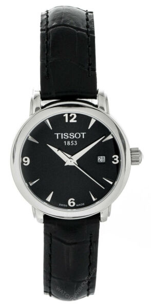 Tissot Everytime Black Dial Black Leather Women Watch T0572101605700