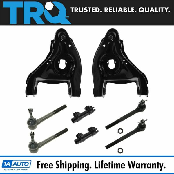 TRQ 8 pc Steering & Suspension Kit Control Arms w Ball Joints & Tie Rod Ends