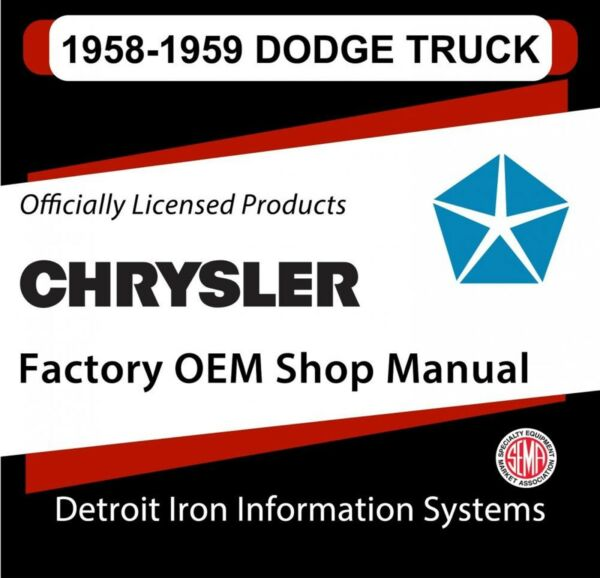 1958 Dodge C Series Light Duty Truck Shop Manual & 1959 Supplement CD