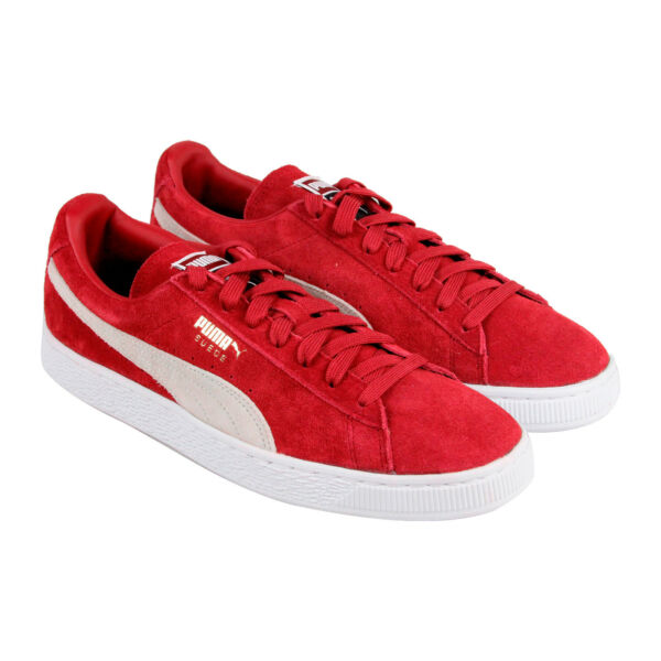 Puma Classic + Mens Red Suede Lace Up Sneakers Shoes