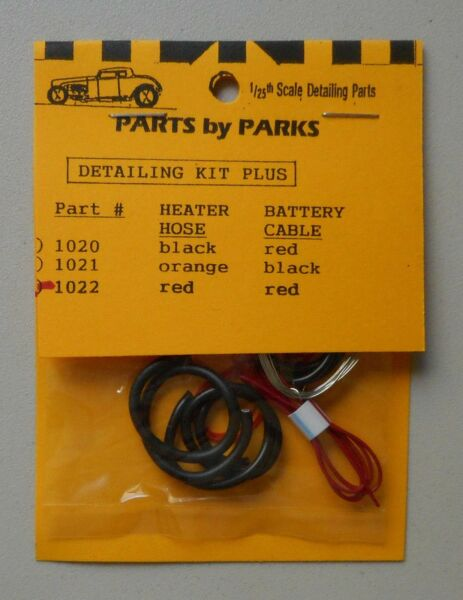 RADIATOR RED HEATER HOSE CABLE 1:24 1:25 PART BY PARKS CAR MODEL ACCESSORY 1022