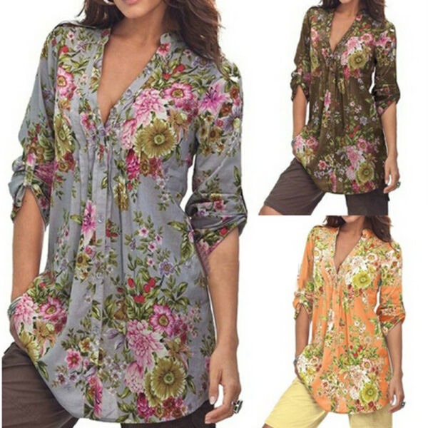 Women Shirt Tops Vintage Floral Print V-neck Tunic Tops Plus Size Blouse Tops