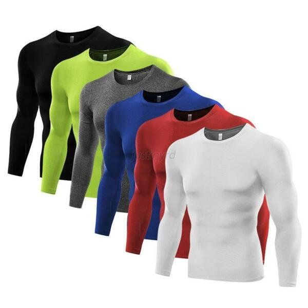 Mens Sports Tights T-shirt Compression Thermal Base Layer Long Sleeve Tops S-3XL