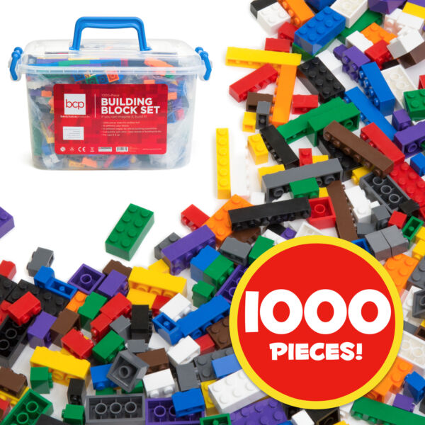 BCP 1000-Piece Kids Building Block Brick Set w/ Storage Bin - Multicolor