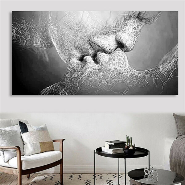 Black White Love Kiss Abstract Art on Canvas Painting Wall Art Picture Print US
