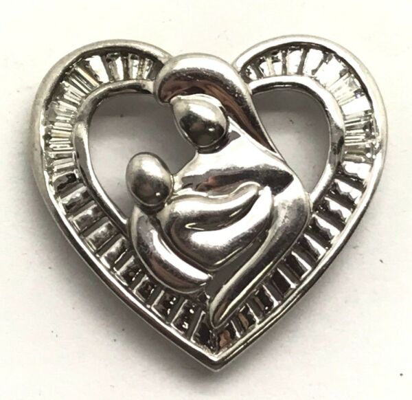 Sterling Silver 925 CZ Baguette Illusion Halo Mother & Child Heart Love Pendant