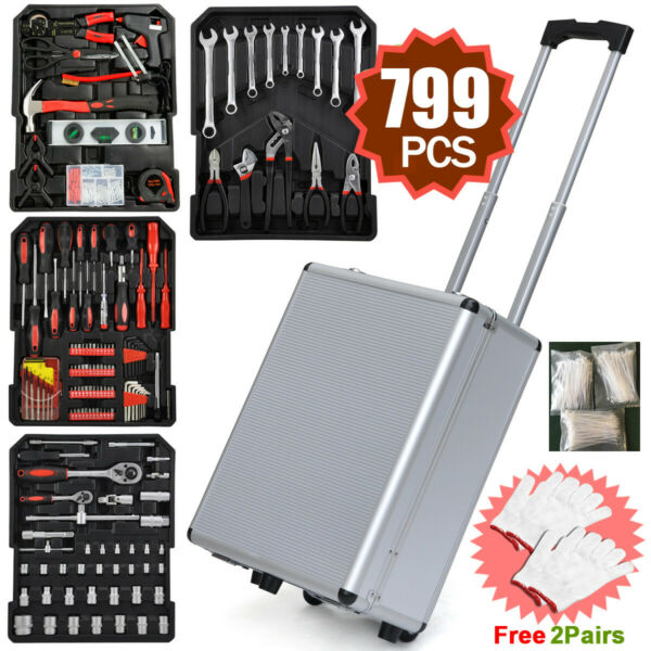 799pcs Hand Tool Kit Mechanics Metric Ratchet Wrench Set Trolley Castors Box