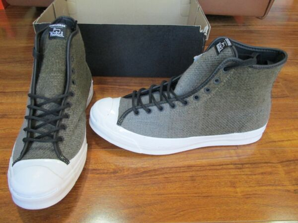 NEW Converse Woolrich Jack Purcell Sign Hi Top Shoes Mens 9.5 Jute/Dolphin $125.