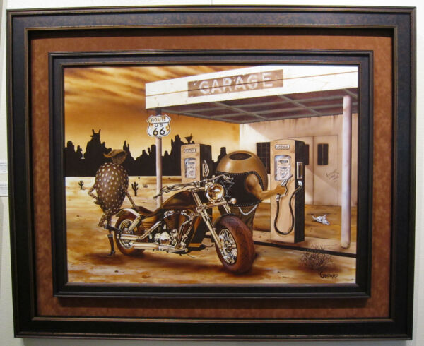 Michael Godard - Historic Route 66 - Original Painting on Canvas - Framed