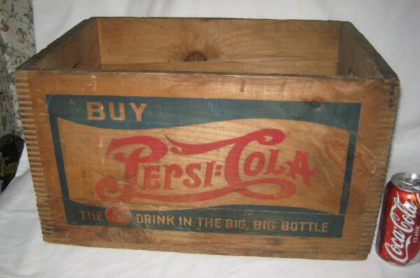 ANTIQUE 41 COUNTRY USA PEPSI COLA BOTTLE CAP ART ADVERTISING WOOD BOX SIGN CRATE