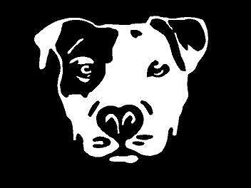 Small WHITE Vinyl Decal Pit Bull face dog puppy truck sticker $4.75