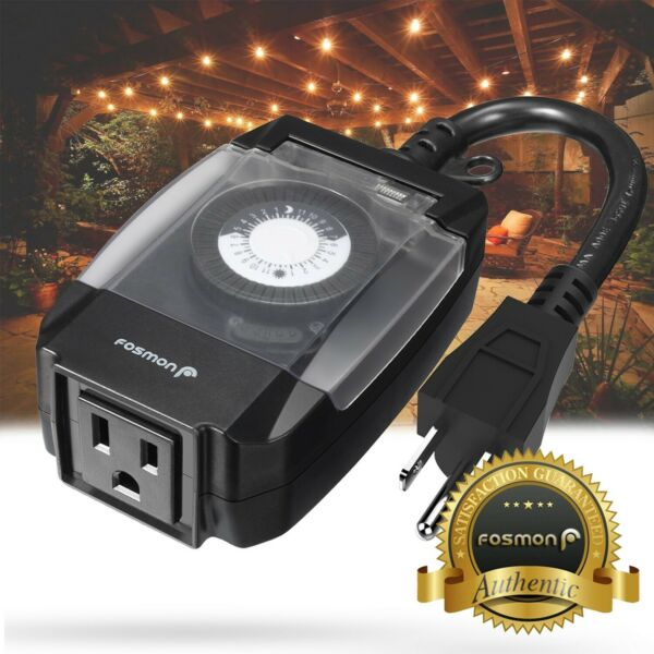 24 Hour Outdoor Mechanical Outlet Timer Weatherproof Automatic Switch Light $13.99