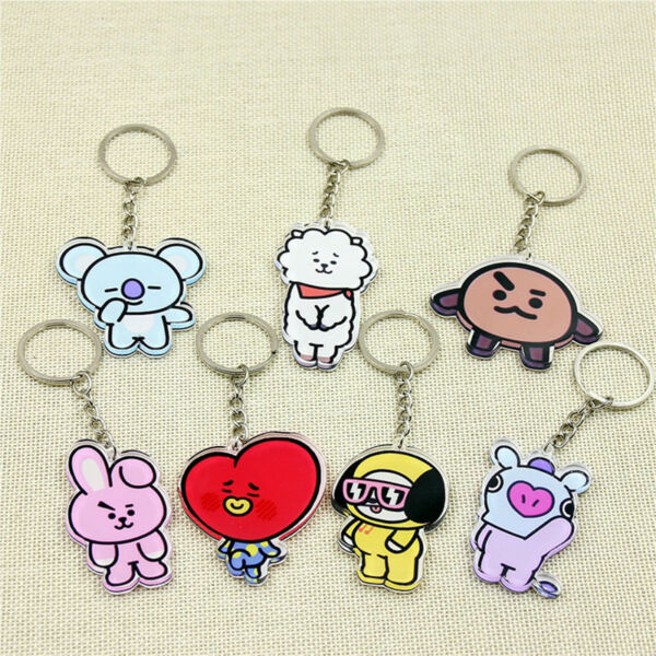 KPOP BTS Keyring Bangtan Boys Key Chain Love Yourself Acrylic J-HOPE V SUGA