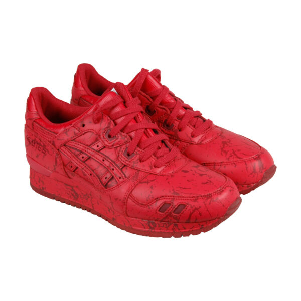 Asics Gel Lyte III Marble Pack Mens Red Leather Lace Up Sneakers Shoes