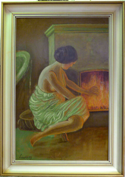 UNINDENTIFIED ARTIST! YOUNG WOMAN AT THE FIREPLACE. NO RESERVE