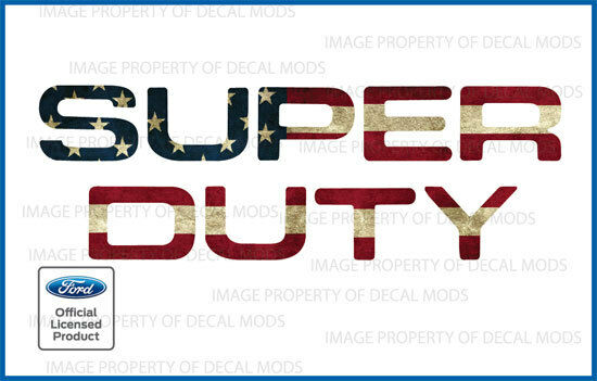 2008-2016 F250 Super Duty GRILLE HOOD Letters Decals Stickers AMERICAN FLAG WORN