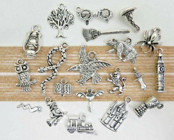 20 HARRY POTTER Charms Antique Silver Mixed Wizard Charm Collection Set Lot