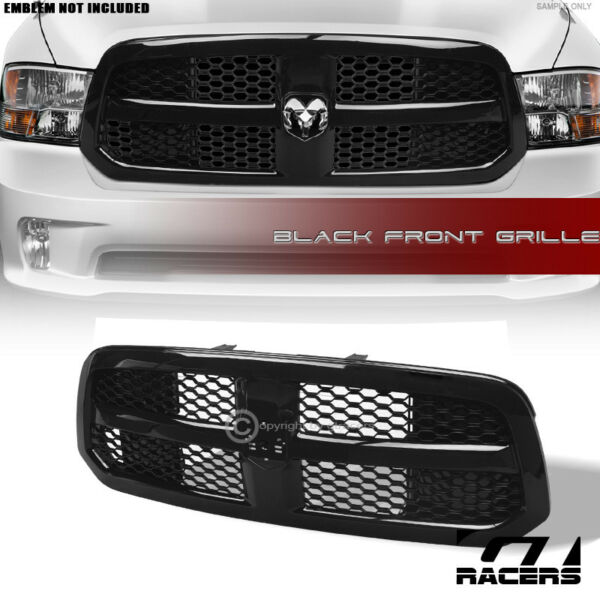 For 2013 2018 Dodge Ram 1500 Glossy Black Oe Honeycomb Mesh Front Bumper Grille