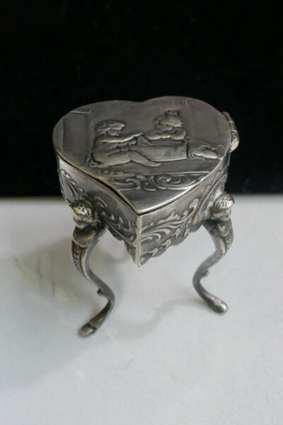 Antique Samuel Boyce Boaz  Landcheck Heart Shaped Trinket Box On Stand