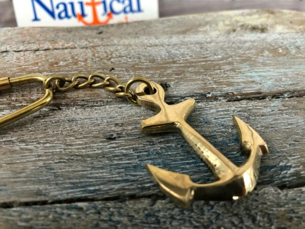 Brass Anchor Keychain - Necklace Pendant - Old Vintage Antique Style Jewelry
