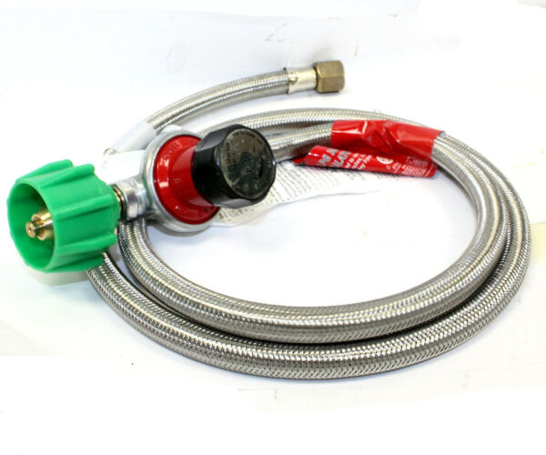 Propane 0-30 PSI Adjustable High pressure Regulator w 4ft Stainless Hose QCC-1