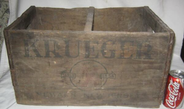 ANTIQUE KRUEGER NEWARK NJ BEER CAN BREWING CO USA WOOD BOTTLE SIGN ART BOX CRATE