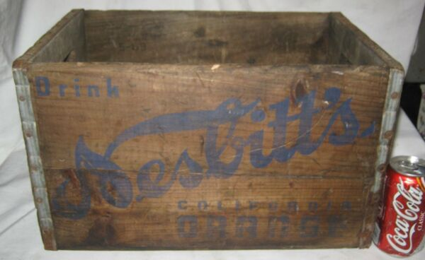 ANTIQUE NESBITTS CALIFORNIA ORANGE SODA BOTTLE WOOD ART BOX CRATE HOLDER SIGN CA