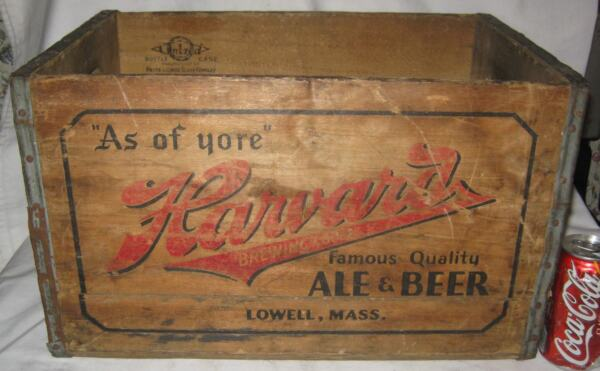 ANTIQUE HARVARD ALE BEER BREWING CO USA WOOD BOTTLE SIGN ART BOX CRATE LOWELL MA