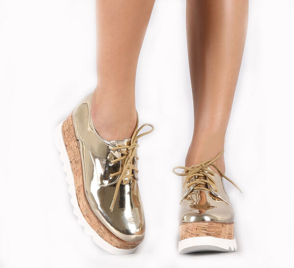 Gold metallic Patent Sneaker tennis flat Platform wedge lace up Creepers shoes