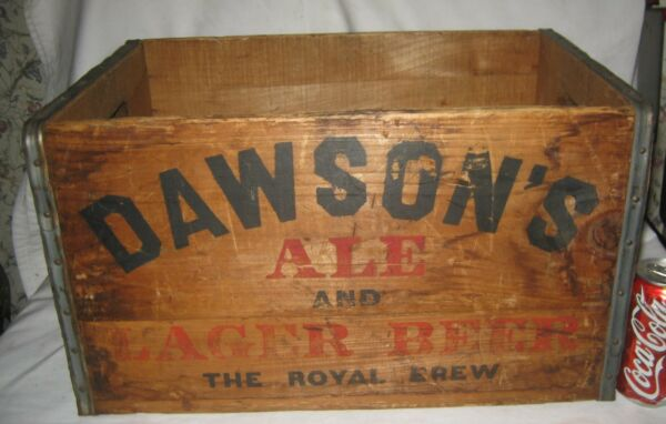 ANTIQUE DAWSONS ALE NEW BEDFORD MA BEER BREWING CO USA WOOD BOTTLE ART BOX CRATE
