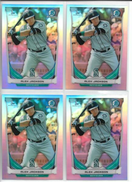 2014 Bowman Draft Alex Jackson (4) Card Refractor Lot Braves Rookie First Year