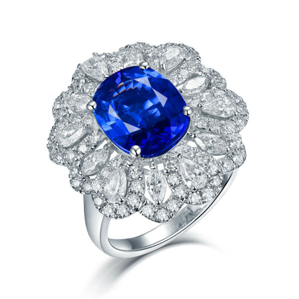 Luxury design Solid 18K White Gold Diamonds Oval 8x10mm Blue Sapphire Ring
