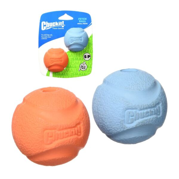 Chuckit Fetch Ball 2 Pack Durable Tough Rubber Dog Puppy Toy Fits Launcher SM
